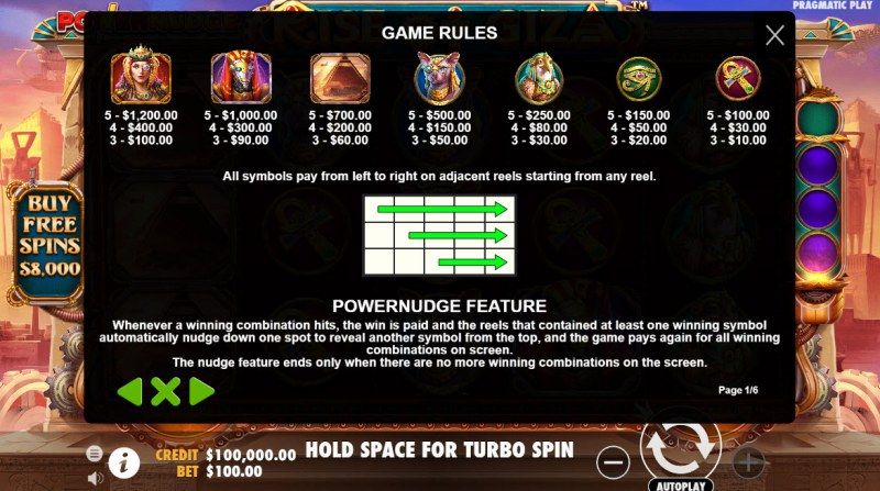 Rise of Giza PowerNudge :: Paytable