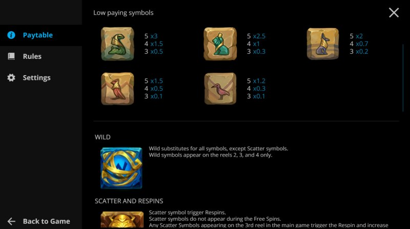 Rise of Horus :: Paytable - Low Value Symbols