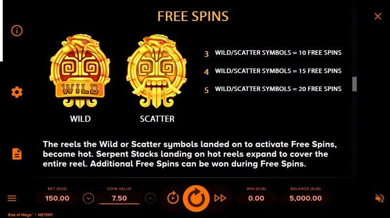 Rise of Maya :: Free Spins Rules