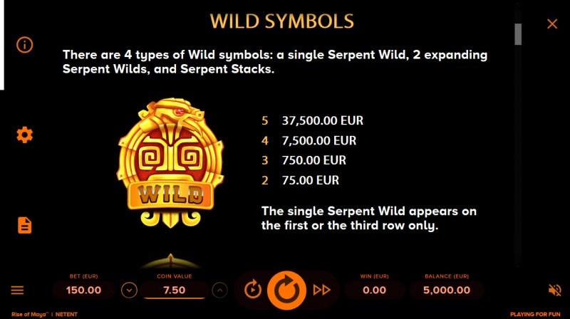 Rise of Maya :: Wild Symbols Rules