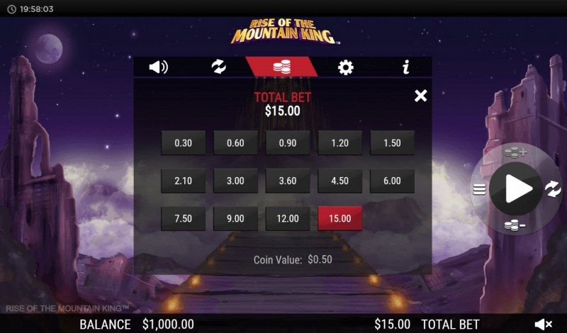 Rise of the Mountain King :: Available Betting Options