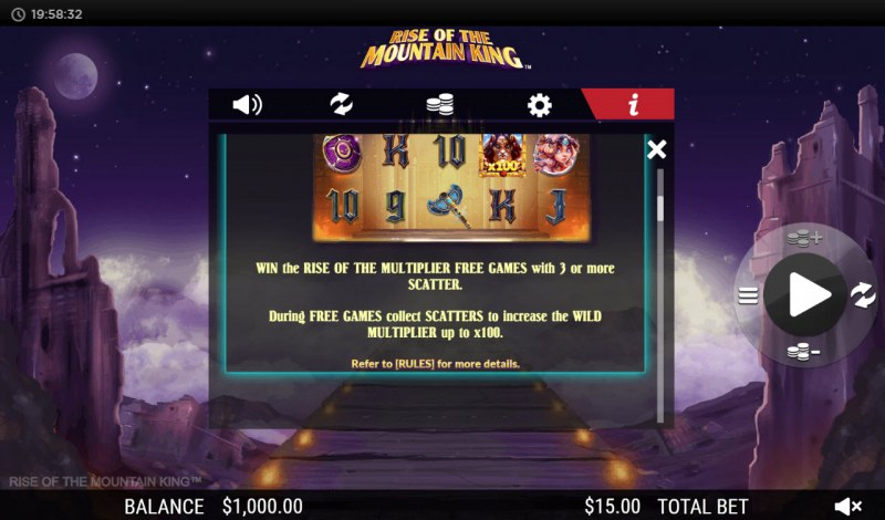 Rise of the Mountain King :: Free Spins Rules