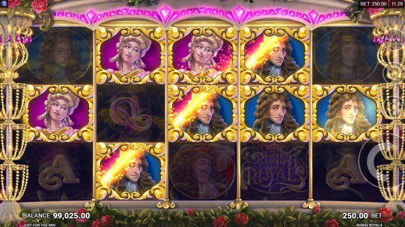 Rising Royals :: Filling the symbol upgrade meter converts winning symbols to the next highest paying symbol