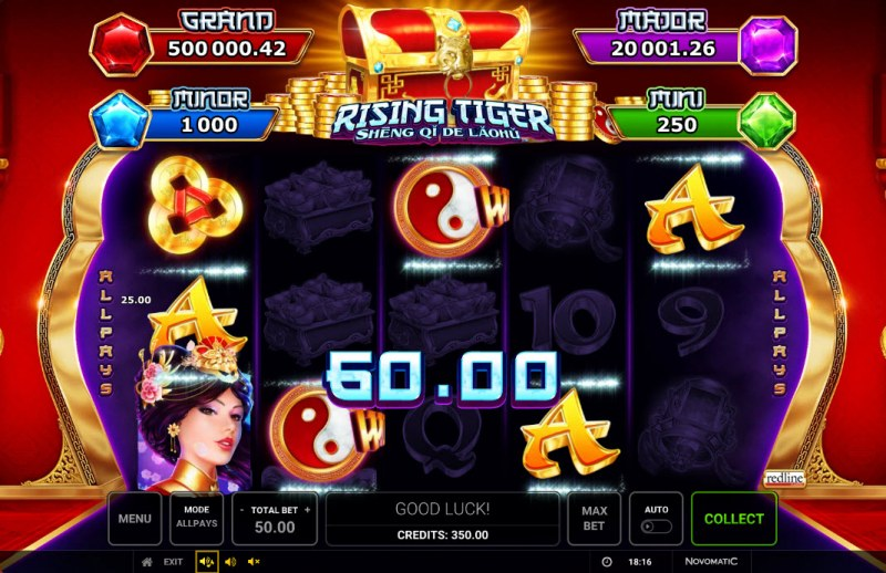 Rising Tiger Sheng Qi De Laohu :: A five of a kind win