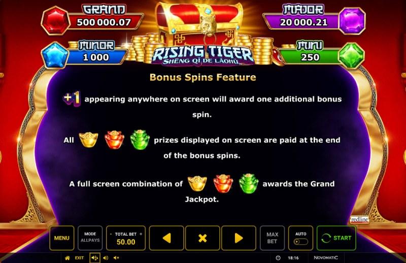 Rising Tiger Sheng Qi De Laohu :: Bonus Spins Feature
