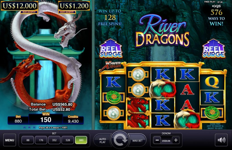River Dragons :: Multiple winning combinations
