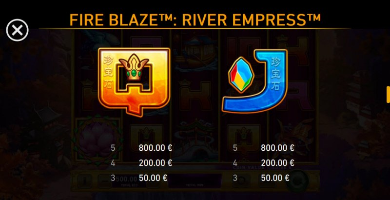 River Empress Fire Blaze :: Paytable - Low Value Symbols