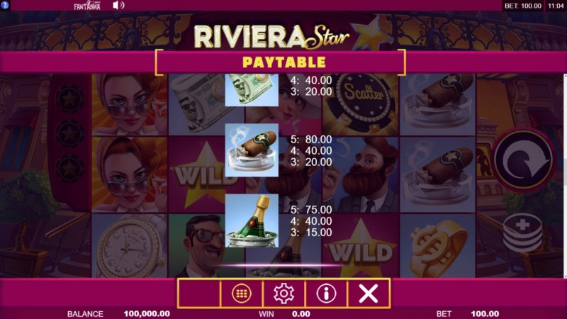 Riviera Star :: Paytable - Low Value Symbols