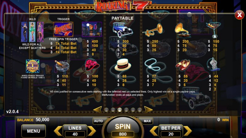 Roaring 7's :: Paytable
