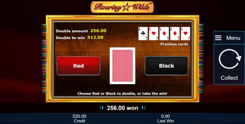 Roaring Wilds :: Red or Black Gamble Feature