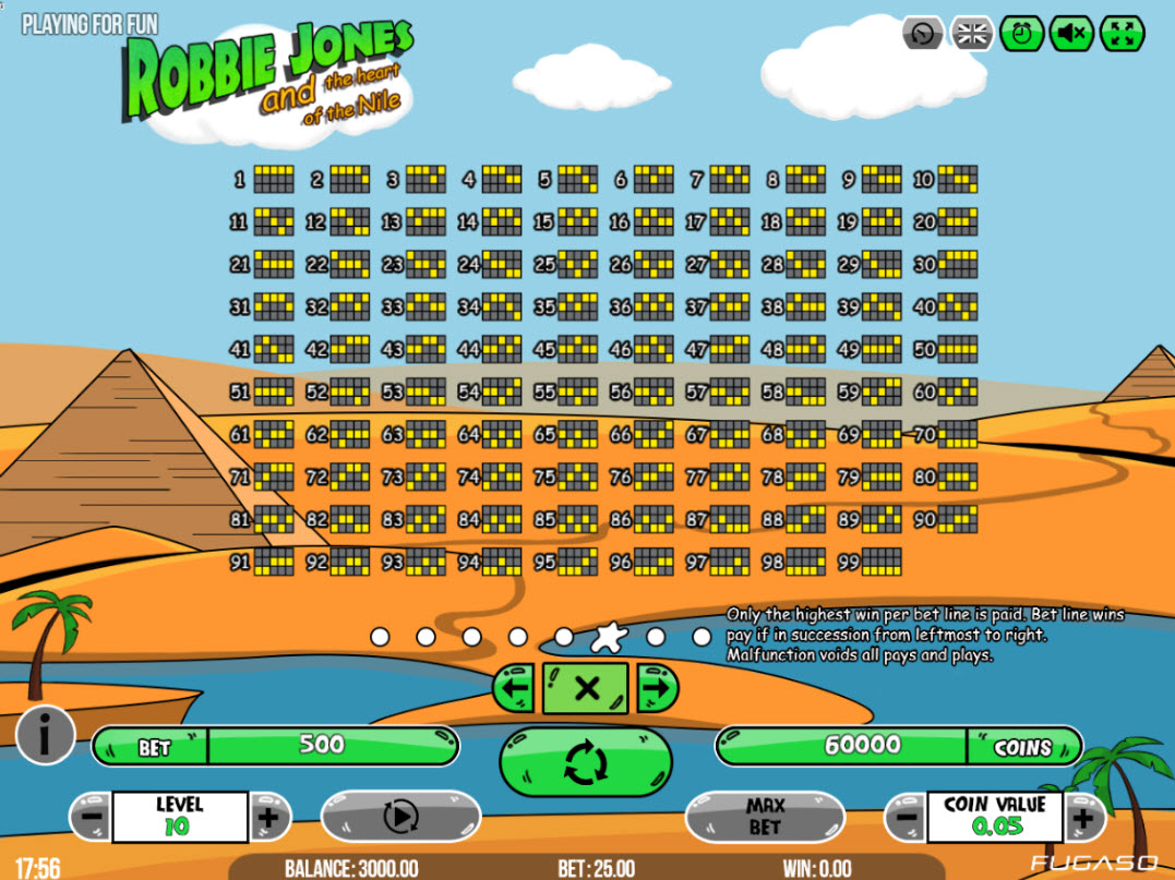 Robbie Jones and the Heart of the Nile :: Paylines 1-99