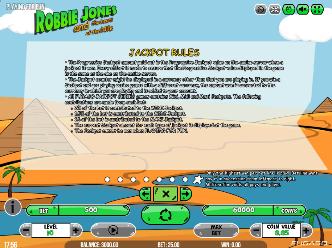 Robbie Jones and the Heart of the Nile :: Jackpot Rules
