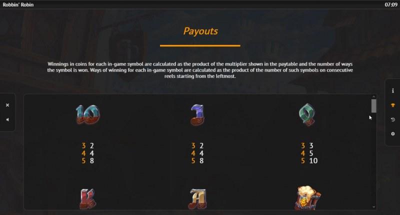 Robbin Robin :: Paytable - Low Value Symbols