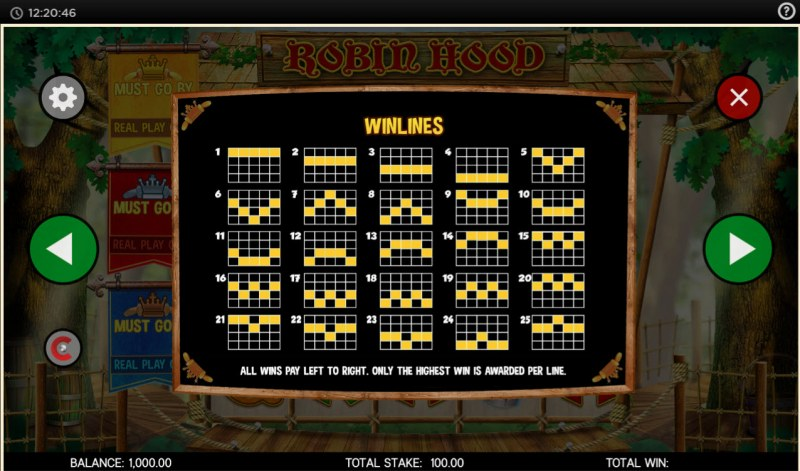 Robin Hood and His Merry Jackpots :: Paylines 1-25