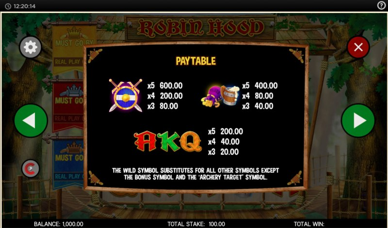 Robin Hood and His Merry Jackpots :: Paytable - Low Value Symbols