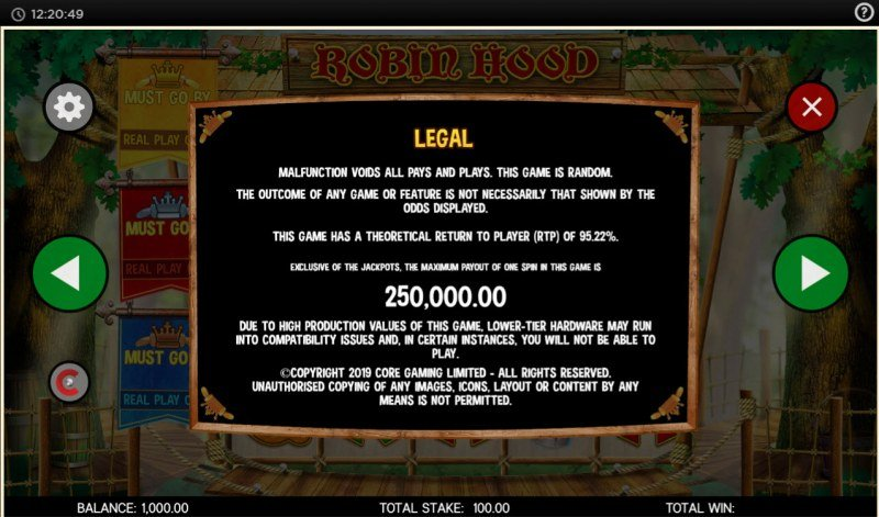 Robin Hood and His Merry Jackpots :: General Game Rules