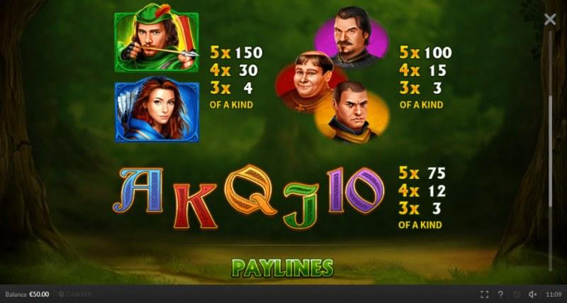 Robin Hood Mega Stacks :: Paytable