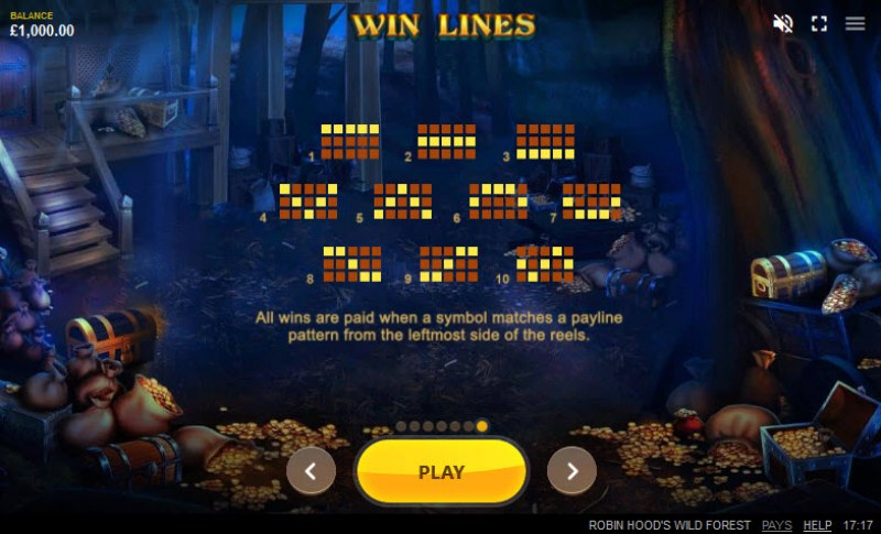 Robin Hood's Wild Forest :: Paylines 1-10