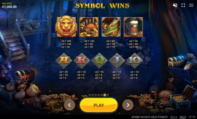 Robin Hood's Wild Forest :: Paytable