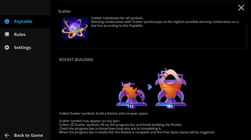 Rocket Star :: Scatter Symbol Rules
