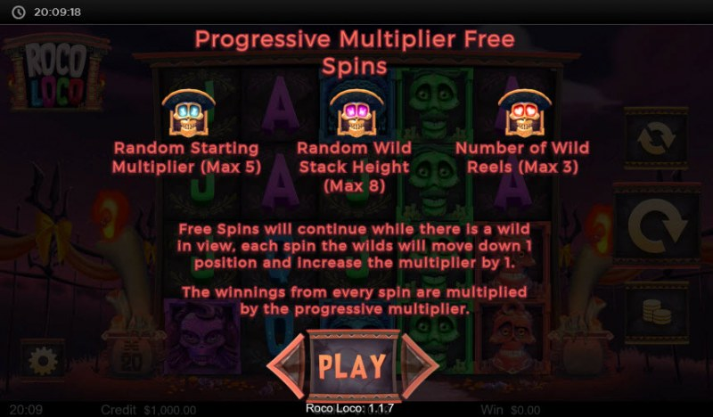Roco Loco :: Free Spins Progressive Multiplier