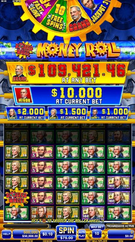 Roller Wheel Money Roll :: Base Game Screen