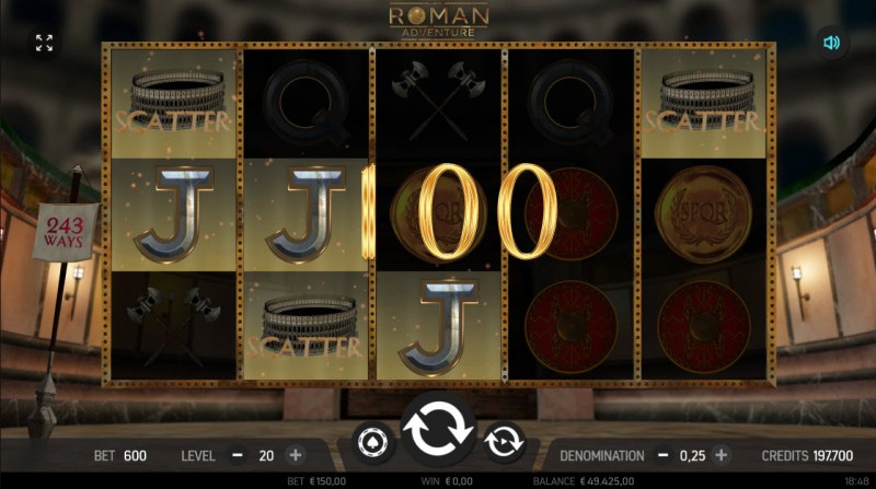 Roman Adventure :: Scatter symbols triggers the free spins feature
