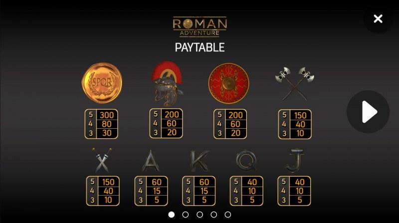 Roman Adventure :: Paytable