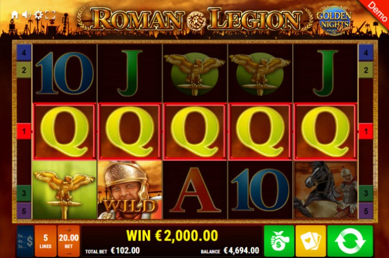 Roman Legion Golden Nights Bonus :: A five of a kind win