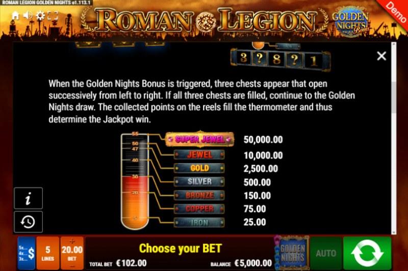 Roman Legion Golden Nights Bonus :: Bonus Game Rules