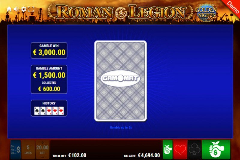Roman Legion Golden Nights Bonus :: Red or Black Gamble Feature