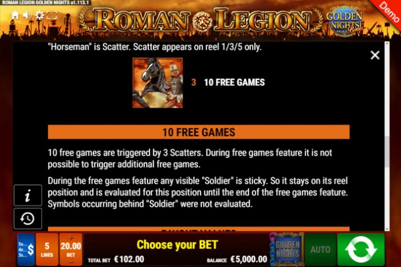 Roman Legion Golden Nights Bonus :: Free Spins Rules