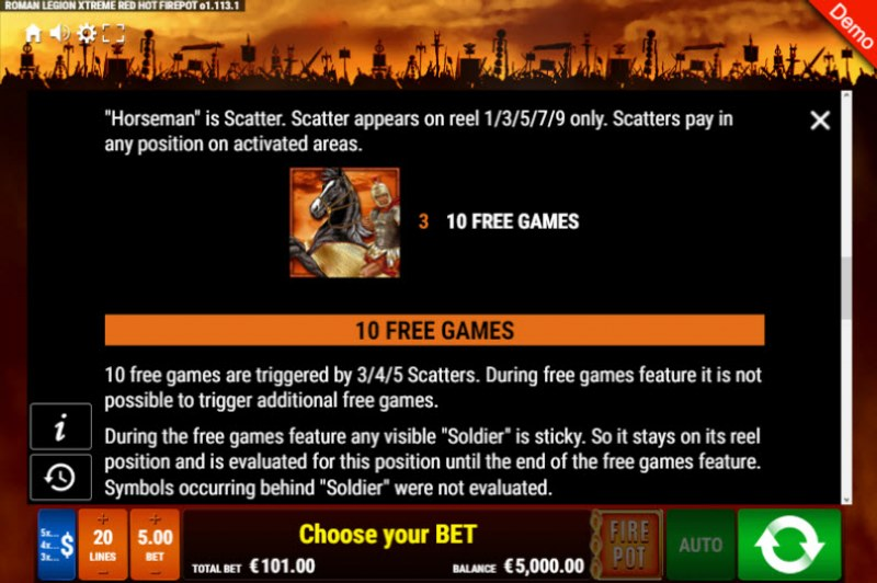 Roman Legion Xtreme Red Hot Fire Pot :: Free Spins Rules