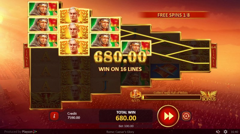 Rome Caesar's Glory :: Free Spins Game Board