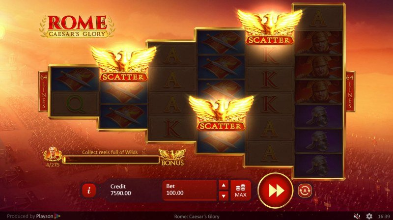 Rome Caesar's Glory :: Scatter symbols triggers the free spins feature