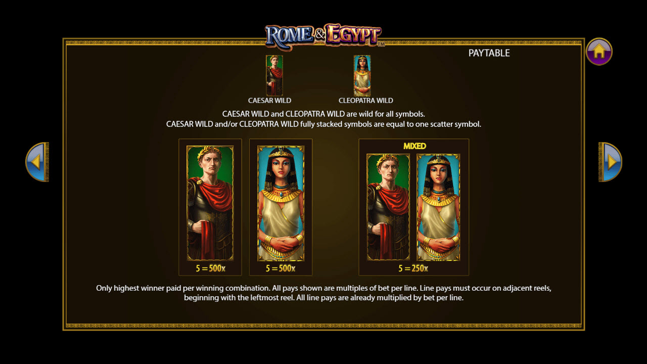 Rome & Egypt :: Wild Symbols Rules