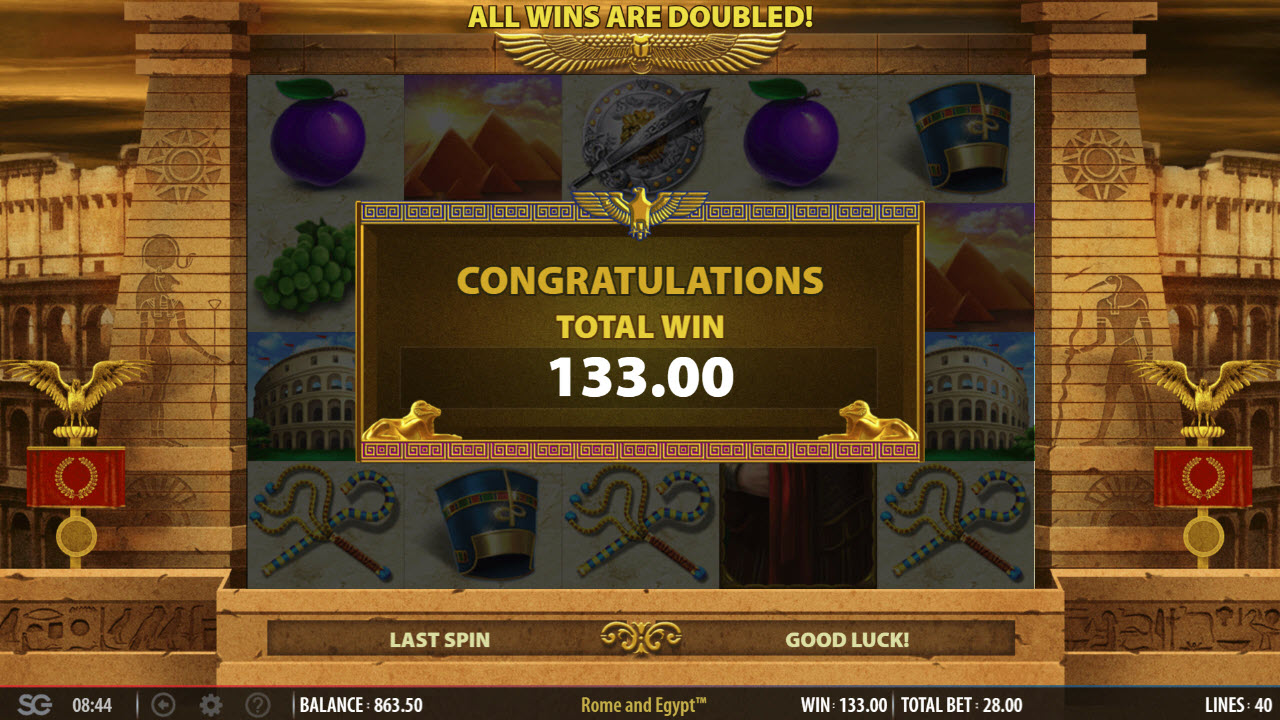 Rome & Egypt :: Total free spins payout