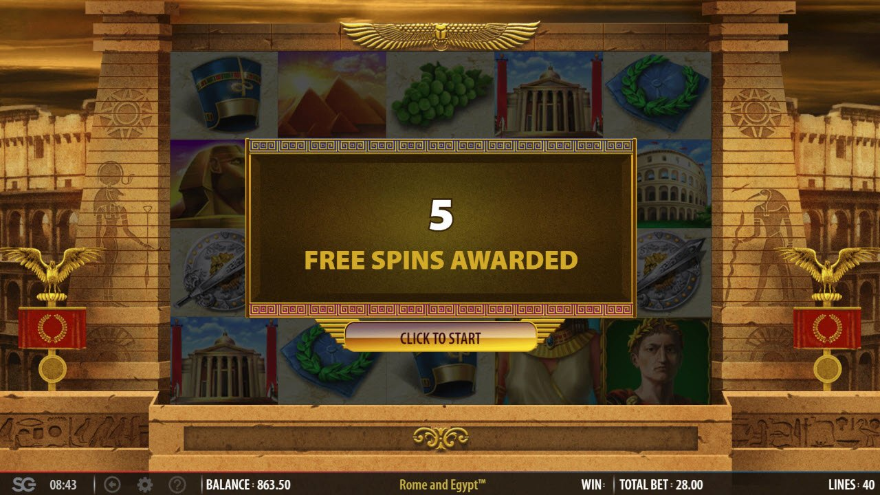 Rome & Egypt :: 5 Free Spins Awarded