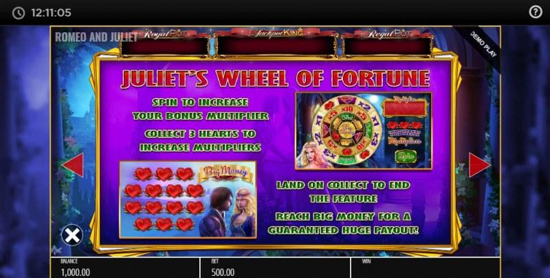 Romeo & Juliet Jackpot King :: Bonus Game Rules