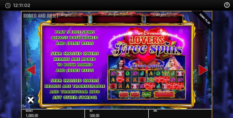 Romeo & Juliet Jackpot King :: Free Spins Rules