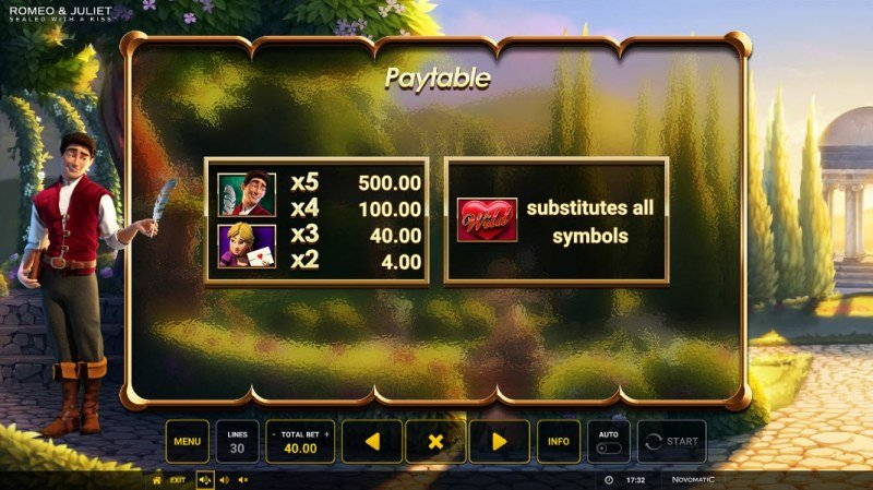 Romeo & Juliet Sealed with a Kiss :: Paytable - Low Value Symbols