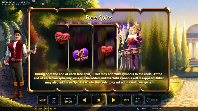 Romeo & Juliet Sealed with a Kiss :: Free Spin Feature Rules