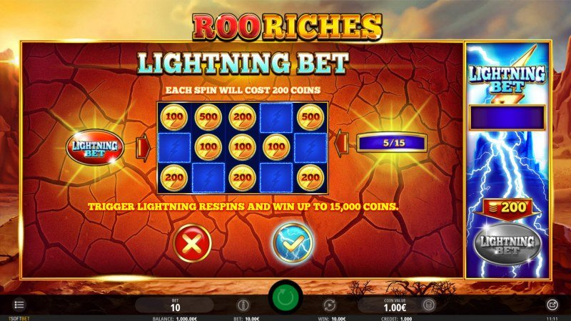 Roo Riches :: Lightning Bet feature