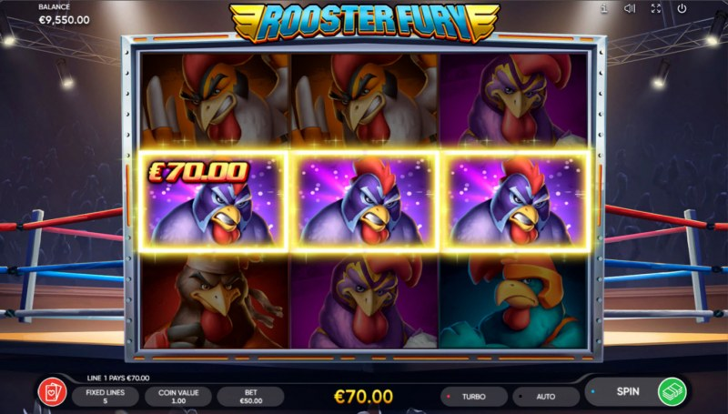 Rooster Fury :: A three of a kind win
