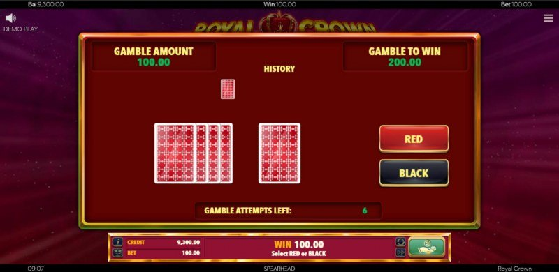 Royal Crown :: Red or Black Gamble Feature