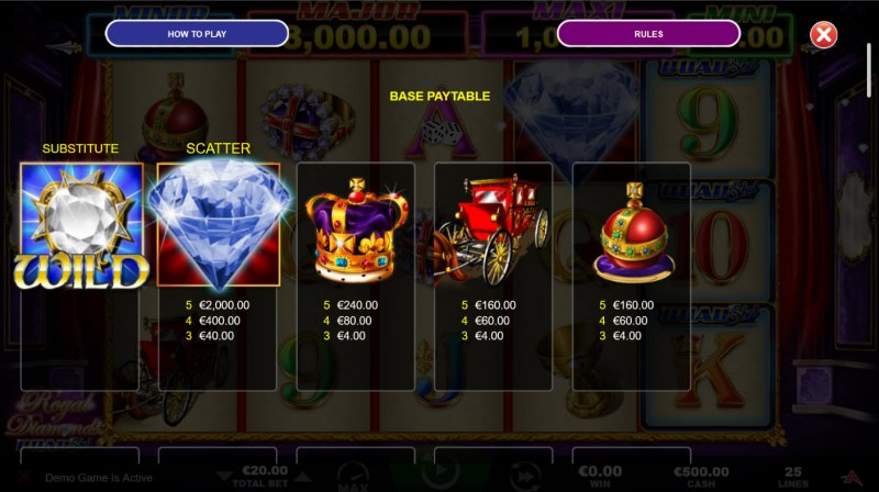 Royal Diamonds Quad Shot :: Paytable - High Value Symbols