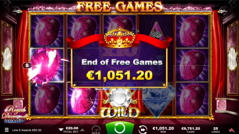 Royal Diamonds Quad Shot :: Total Free Spins Payout