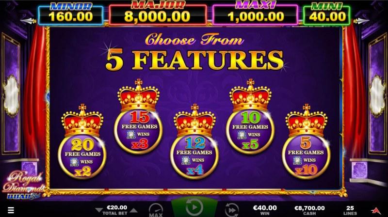 Royal Diamonds Quad Shot :: Pick your free games feature