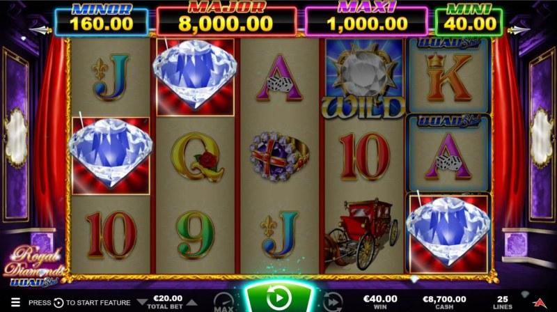 Royal Diamonds Quad Shot :: Scatter symbols triggers the free spins bonus feature