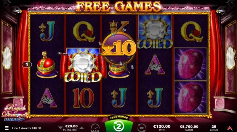 Royal Diamonds Quad Shot :: Free Spins Game Board
